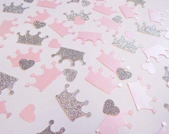 Princess Crown Confetti, Pink and Silver Heart Confetti, Party Decorations, Birthday Party Decor, Table Scatter, Glitter Confetti