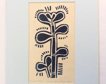 linocut - JADE TREE // 5x7 art print // printmaking // block print // miniature // succulent // houseplant // original art // blue // 4x6