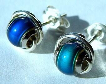 Mood Studs Mood Earrings 6mm Color Changing Mood Post Earrings in Sterling Silver Stud Earrings Studs