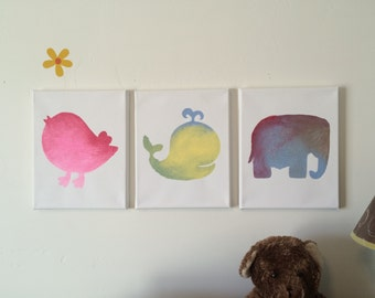Nursery Animals - Hand Painted Canvas - 8x10