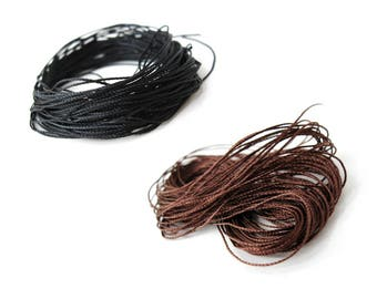 Woven Cotton Cord 0.6mm - 10 meters / 32.8 ft - Black or Brown