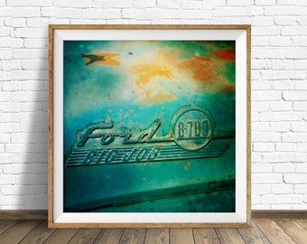 """retro wall art, masculine wall art, masculine decor, square wall art, instant download printable art, large art, large wall art - """"Blue Bus"""""""
