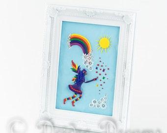Rainbow Fairy Shadow Box, Fairy Diorama, Rainbow Decor, Folk Art, Flower Power Hippie Gay Pride Art, Inspirational Art, Childrens Room Decor