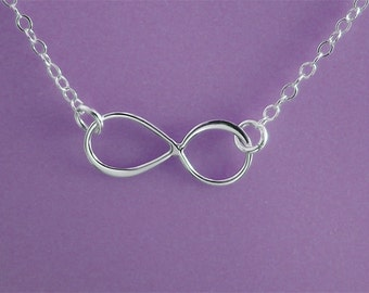 Infinity Necklace - Eternity Circle, Infinity Link, in Sterling Silver - Dainty Necklace