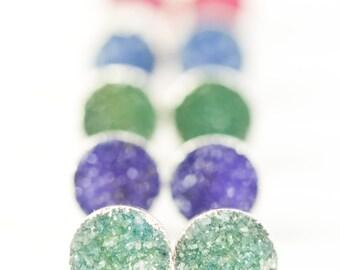 A'ia'i earrings - silver druzy stud earrings, silver druzy post earrings, silver stud earrings, druzy earring, silver earrings, maui, hawaii