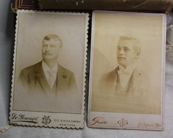Victorian CABINET CARDS De Youngs- Julius Gross St. Louis (2) Gents in Suits- Old Photos-  Sepia Toned Photo