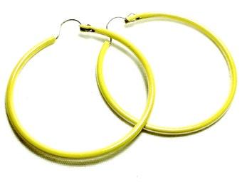 Vintage New Old Stock Pearlized Yellow Enamel Thin Hoop Earrings