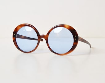 Vintage 60s 70s Round Tortoise Brown and Blue Oversized Sunglasses