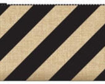 033 Burlap clutch - black stripes