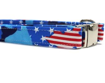 American Camo Dog Collar | Your choice of metal buckle or plastic buckle | Patriotic Dog Collar | Girl Dog Collar | Boy Dog Collar