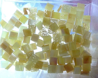 "100 3/8"" GOLDEN PINEAPPLE Pearl Opal Stained Glass Mosaic Tile B44"