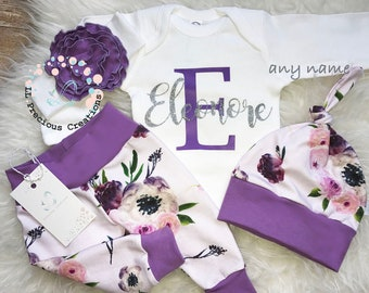 Coming home Outfit Baby Girl Baby Girl Clothes Personalized Outfit Purple Floral Outfit Baby Shower Gift Monogrammed Outfit
