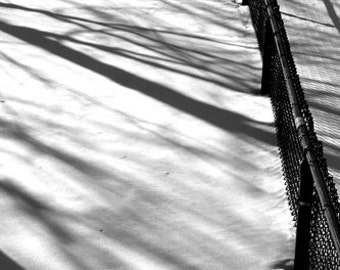 Shadows in the Snow, empty, black and white, Minimalist, Fence, Photograph, lines