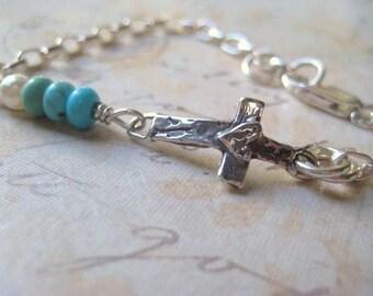 Cross Bracelet, Genuine Turquoise, Sterling Silver, Elongnated Chain, Rolo Chain, Heart Cross, Genuine Vintage Pearl, Dainty Bracelet