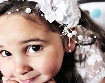 White Flower Headband, Pearl Wedding Headband, Flower Girl, Christening Headband Raspberry Rose Luxury Headband Photo Prop 5T to Adult