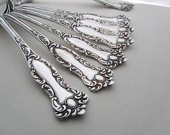 Ladle and Six Soup Spoons, Wm Rogers & Son, Oxford Pattern 1901, Antique Silverplate, American Vintage Tableware, Ornate Silverware