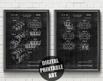 Lego Patent Print | Lego Wall Decor | Patent Print Set | Lego Patent | Lego Brick Patent | Lego Patent Art | Lego Art Print | Lego Wall Art