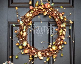 Spring and Easter Grapevine Wreath, Metallic Foil Eggs, Easter Egg Wreath, Simple and Chic Wreath, Housewarming, Storm Door Wreath