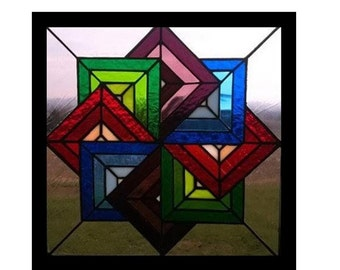 Spinning star Amish quilt pattern in stained glass
