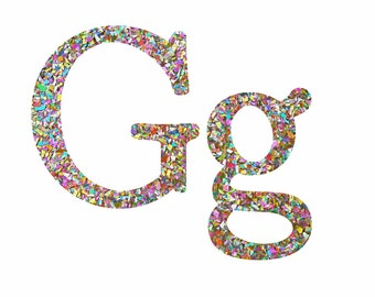 Glitter Letter G, Resin Letter Filled with Glitter, Glitter Home Decor. Decorative Glitter Letter G, Silver, Gold, Red, Green, Blue, Pink