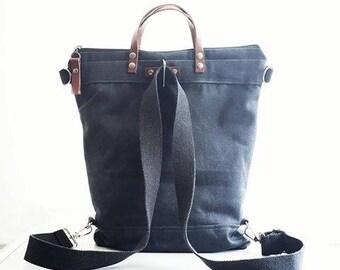 Waxed Canvas Backpack bag in Charcoal Black / Unisex / Men Laptop Bag, Men Diaper Bag, Travel Trip Bag, Rucksack, waxed bagpack bag, gray