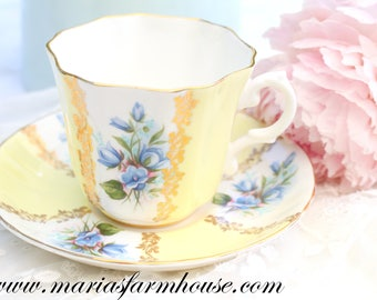 TEA CUP, Vintage, English Fine Bone China Tea Cup and Saucer by Royal Grafton, Replacement China - ca. 1957 - 1960