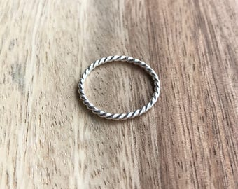 Sterling Silver Twist Ring, Sterling Silver Stack Ring, Sterling Silver Twist Ring, Thin Stack Ring