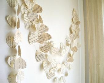 Wedding heart garland, vintage book paper garland, Wedding decoration, Paper heart garland, ivory paper garland,  Party Garland, home decor