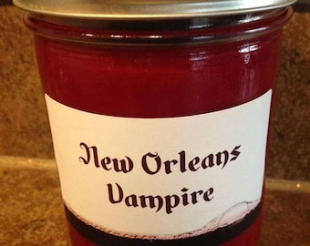 New Orleans Vampire Mason Jar Candle. NOLA, Southern, South, Cabernet, Goth, Gothic