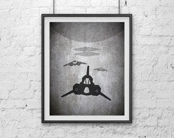 04-BSG Cylon's Attacking Viper Battlestar Galactica Poster Print
