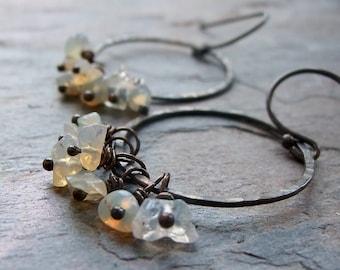 Opal Sterling Silver Raw Nugget Earrings