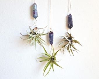 Boho Airplant Terrarium, Display, Blue Fluorite Crystal Hanging Air Planter,   Wire Wrapped, Gift for Mother, Gardener, Boho Goddess