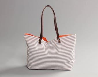 Blue and white striped bag, Canvas Tote Bag, Beach tote Bag, Casual Tote Bag, Day Bag, Summer Tote bag, Hobo Tote bag, Lagut, Weekend Bag
