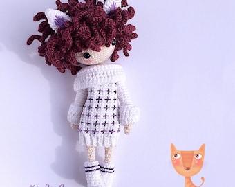 English: Crochet Doll Pattern-Kayla B 凯拉 B. (Wildcat Girl)