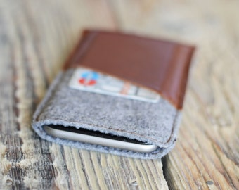iPhone 6 sleeve Leather iPhone 6 case Gift ideas Felt iPhone case iPhone 7 felt case