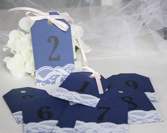 Navy & Blush Lace Wedding Table Numbers Tags, Table Numbers, Navy Pink Wedding, Navy Blush Wedding, Table Number Tags