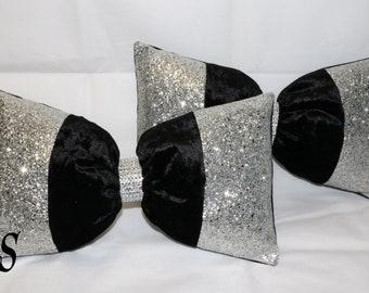 Black Crushed Velvet, Silver Glitter Bow, Cushion.