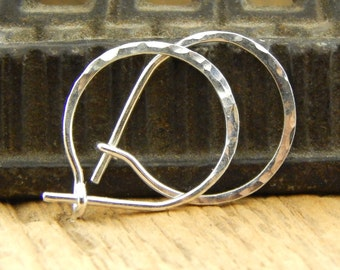 Silver hoops, *thicker 18 gauge* 1/2 inch hoop earrings, tiny hammered SHINY sterling silver, 0.5 inch hoops, ONE pair.