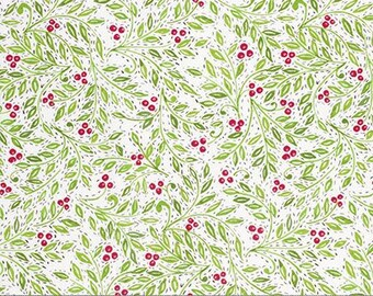 Holly Berries in White - Christmas Quilt fabric by the Half-Yard or Full Yard - Merry Mistletoe Fabric by Dena Designs for Free Spirit