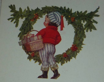 Little Boy in Red Sweater With Basket of Gifts and Wreath Vintage Christmas Postcard
