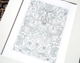 William Morris Soft Gray Botanical Wallpaper Pattern 4 Archival Quality Print on Watercolor Paper