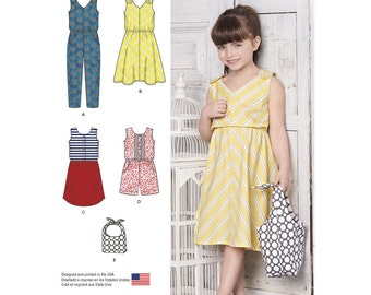 Simplicity Sewing Pattern 8202 Children's Jumpsuits, Dresses and Bag