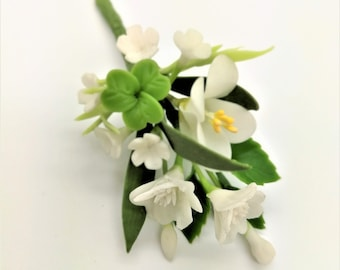 White Magic Handmade Miniature Polymer Clay Art Flowers for Dollhouse and Wedding Gifts