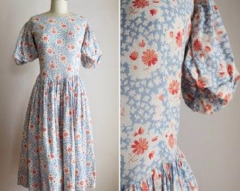 1930s balloon sleeve dress M/L ~ vintage floral cotton dress