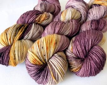 HARVEST. hand dyed yarn, purple yarn. gold yarn, superwash merino yarn, soft yarn, unique yarn, baby knitting yarn