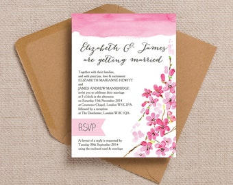 Personalised Pink Cherry Blossom Wedding Invitation & RSVP with envelopes