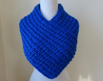 Knit Cowl, Knit Neck Warmer, Textured Rib Stitch Cowl Neck Warmer in Royal Blue - Acrylic - Soft Cowl - Warm Cowl - Gift for Her