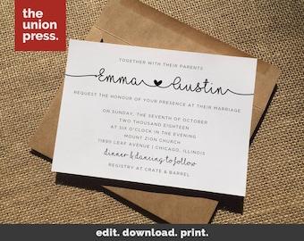 Wedding Invitation Template, Printable Wedding Invitations, Wedding Invite Template
