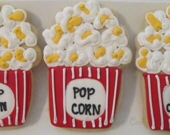 "2 dozen ""Movie Night"" Popcorn Custom Cutout cookies"