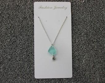 20'' Aqua Blue Beach Glass Necklace with Gem
